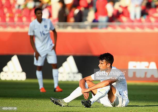 Easah Suliman of England is dejected after England were defeated by Brazil during the FIFA U17 World Cup Group B match between England and Brazil at...