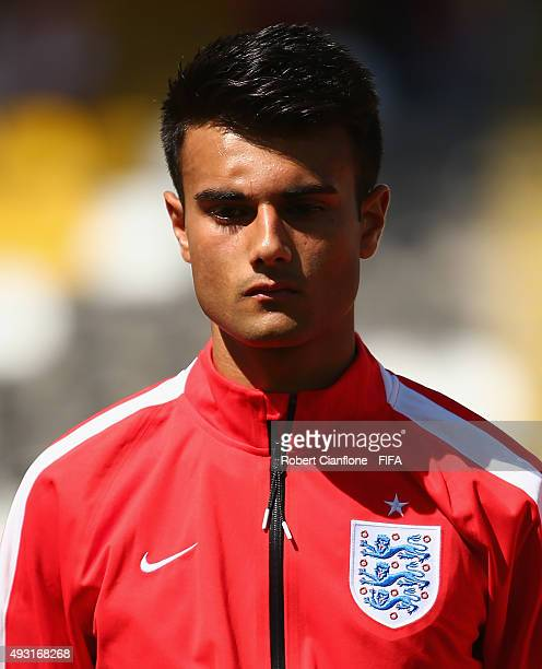Easah Suliman of England lines up for the FIFA U17 World Cup Group B match between England and Guinea at Estadio Francisco Sanchez Rumoroso on...