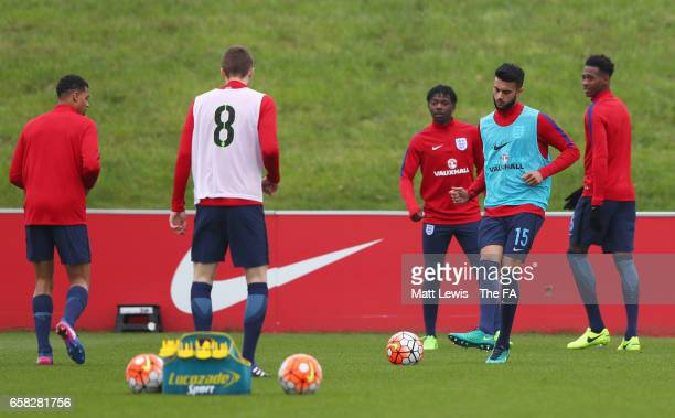 Easah Suliman of England warms up with team mates prior to the UEFA U19 International qualifiying match between England and Belarus at St Georges...