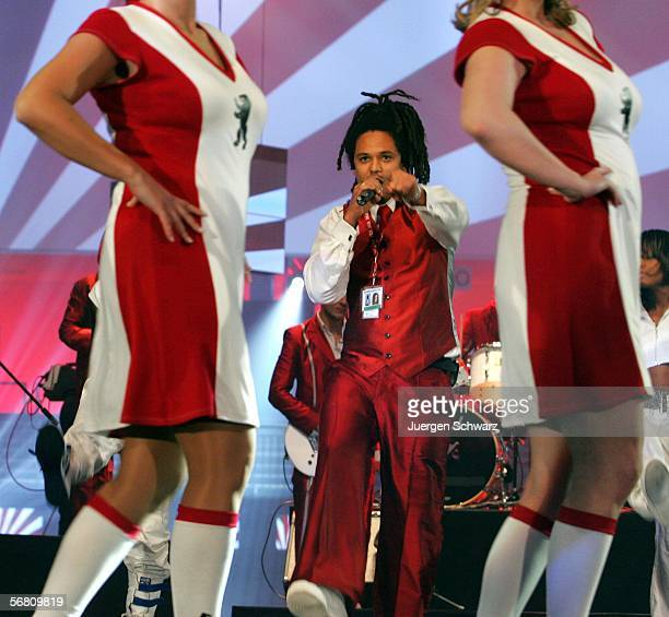 Eased aka Frank A Delle of the band Seed from Berlin sings at the rehearsel of the Bundesvision Song Contest 2006 on February 9 2006 in Wetzlar...
