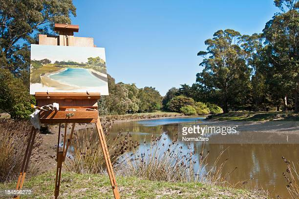 Easel and landscape