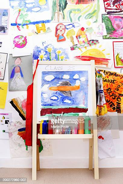 Easel by wall decorated with children's drawings