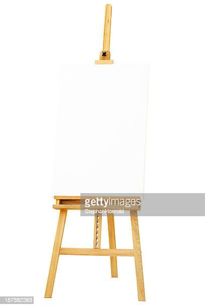 Easel with canvas, isolated on white background, path included