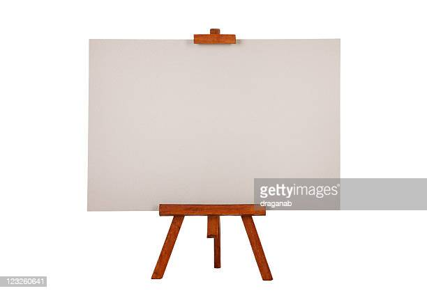 Easel with gray drawing paper