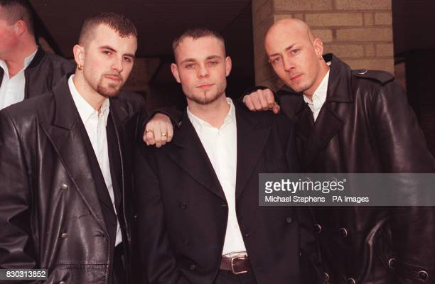 East 17 singer Brian Harvey outside Southwark crown court with band members John and Terry today Mr Harvey is on trial for assaulting photographer...