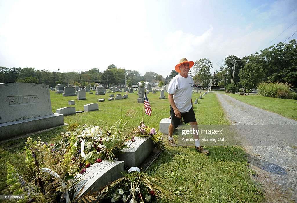 East Bangor, Pennsylvania, Mayor Gaylord Weidlick walks through the 10.8-acre East Bangor Cemetery which resides in neighboring Upper Mount Bethel. Mayor Weidlick is in the process of having the cemetery reside in East Bangor, with the permission from Upper Mount Bethel.