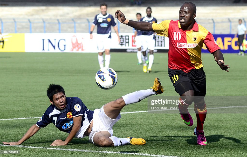 East Bengal player Chiddi vying for ball with Selangor FC player during AFC Football Cup 2013 at Yuba Bharati Krirangan on February 27, 2013 in Kolkata, India.