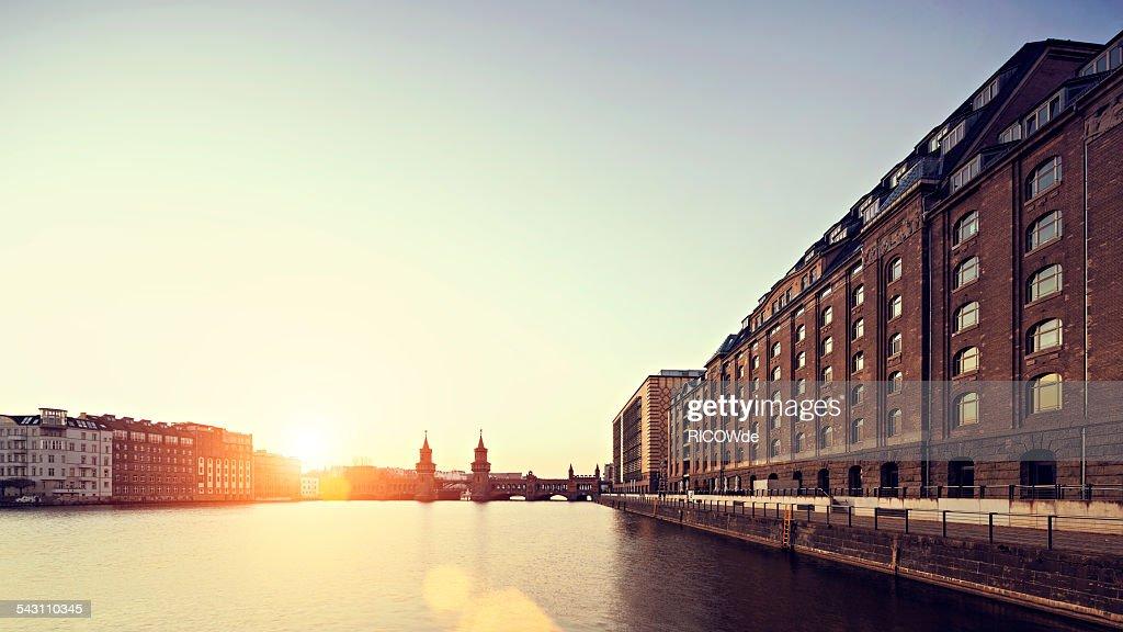 East Berlin sunset cityscape