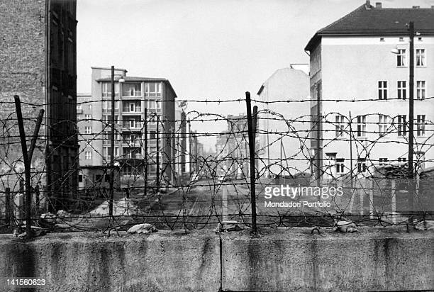 East Berlin viewed from the western sector through the barbed wire Berlin 1963