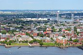 Boston, Massachusetts in the United States. City aerial view with East Boston and Eagle Hill.
