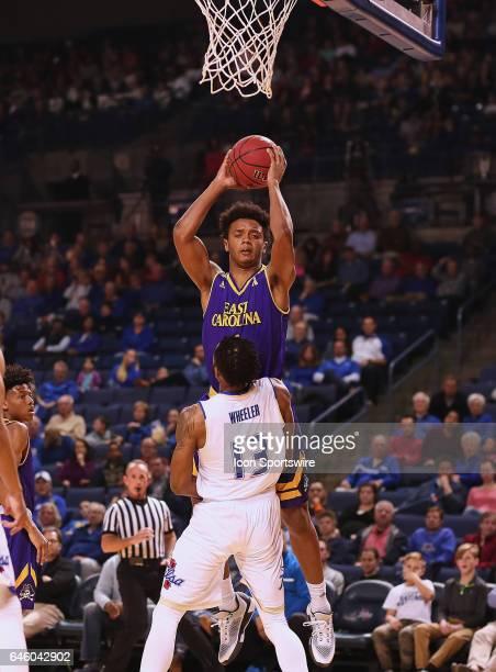 East Carolina Pirates Guard Elijah Hughes elevates for the shot over Tulsa Golden Hurricane Guard Jaleel Wheeler during the AAC Mens basketball game...