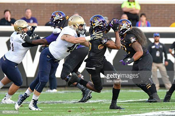 East Carolina Pirates wide receiver Zay Jones catches a pass during an NCAA football game between the East Carolina Pirates and the Navy Midshipmen...
