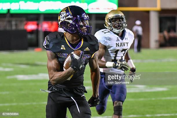 East Carolina Pirates wide receiver Zay Jones catches a touchdown pass during an NCAA football game between the East Carolina Pirates and the Navy...
