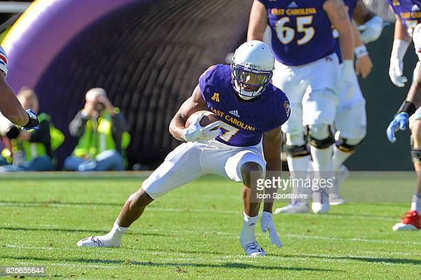 East Carolina Pirates wide receiver Zay Jones runs with the ball after a catch during an NCAA football game between the East Carolina Pirates and SMU...