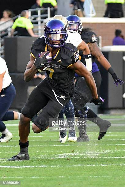 East Carolina Pirates wide receiver Zay Jones runs with the ball during an NCAA football game between the East Carolina Pirates and the Navy...