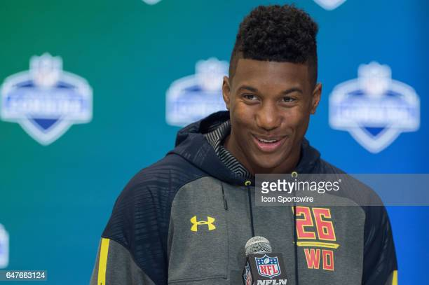 East Carolina wide receiver Zay Jones answers questions from the media during the NFL Scouting Combine on March 3 2017 at Lucas Oil Stadium in...