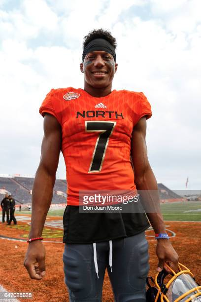 East Carolina Wide Receiver Zay Jones of the North Team poses after the 2017 Resse's Senior Bowl at LaddPeebles Stadium on January 28 2017 in Mobile...