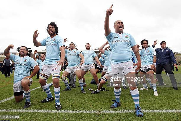 East Coast players perform a haka after the Meads Cup Final match between Wanganui and East Coast at Cooks Garden on October 8 2011 in Wanganui New...