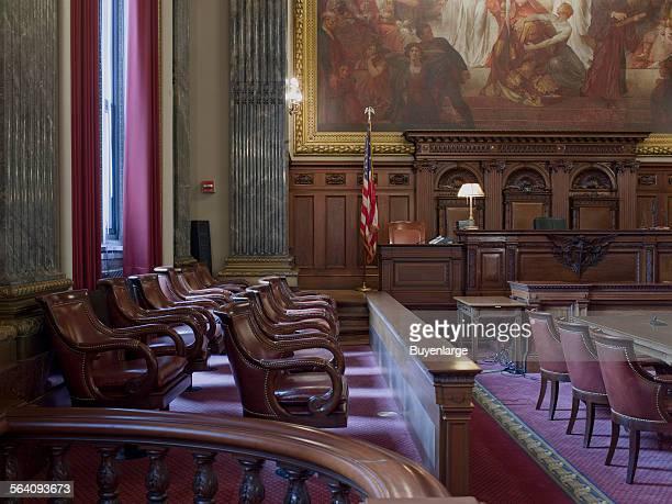 East courtroom Judge bench and Jury box Howard M Metzenbaum US Courthouse Cleveland Ohio