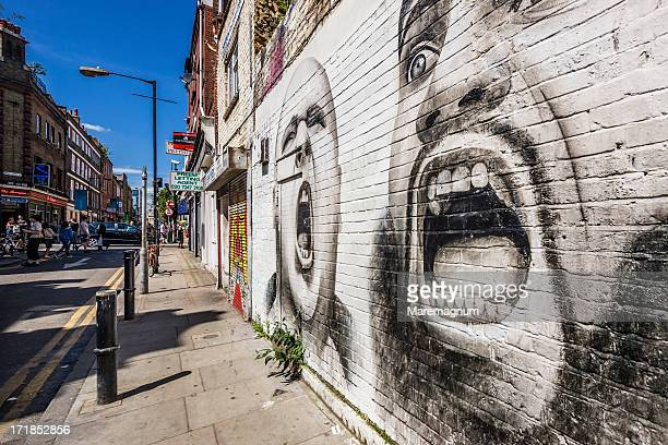 East End, Brick Lane, Hanbury Street, a mural