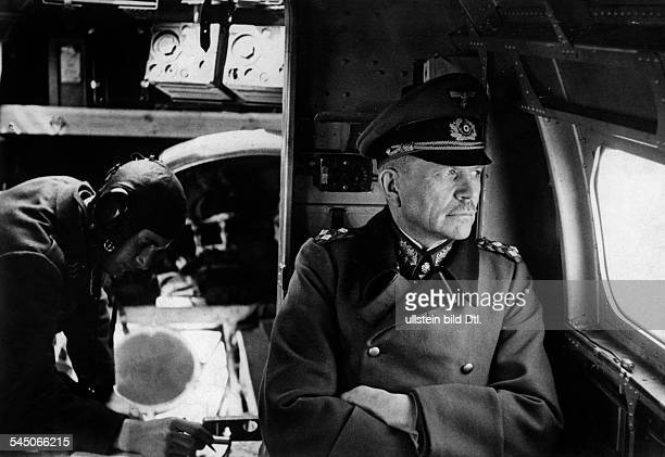 WW II East Front Russia The German General Heinz Guderian sitting in a military plane during an inspection tour over the Kharkov district april 1943...