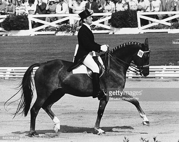 East German equestrian competitor Horst Koehler and his horse Imanuel competing in the dressage event at the Olympic Games Munich 1972