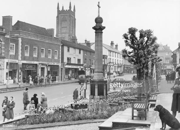 East Grinstead High Street West Sussex June 1950 In the foreground is the war memorial and in the background the spire of the parish church
