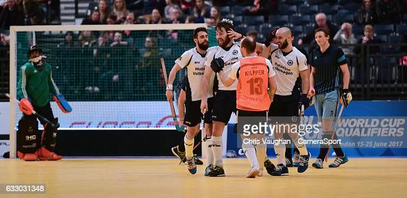 East Grinstead's Adam Seccull second in from left celebrates scoring his sides fourth goal with teammates during the Maxifuel Super Sixes Mens...