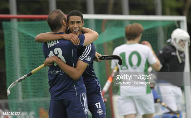 East Grinstead's Danny Hall and Darren Cheeseman celebrate the 3rd goal during the England Hockey League Premier Division game at Canterbury HC Polo...