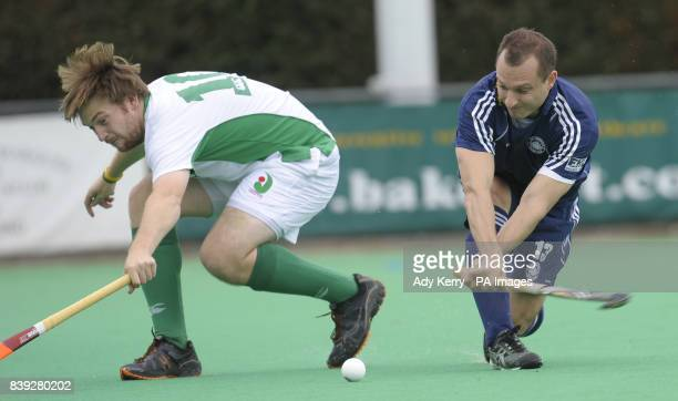 East Grinstead's Danny Hall scores the opening goal during the England Hockey League Premier Division game at Canterbury HC Polo Farm Canterbury