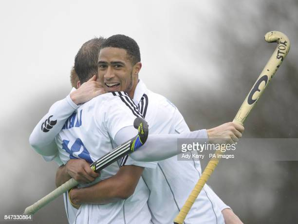 East Grinstead's Darren Cheesman celebrates his goal with Danny Hall during the Mens Premier League game at Sonning Lane Reading