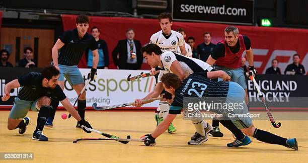 East Grinstead's Josep Farres Palet scores his sides second goal during the Maxifuel Super Sixes Mens SemiFinal match between East Grinstead and...