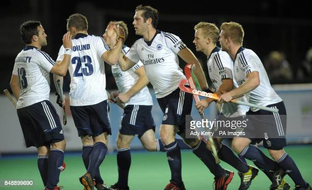 East Grinstead's Rick Gay celebrates his goal against Waterloo Ducks during the EuroHockey League Round 12 game at East Grinstead HC West Sussex