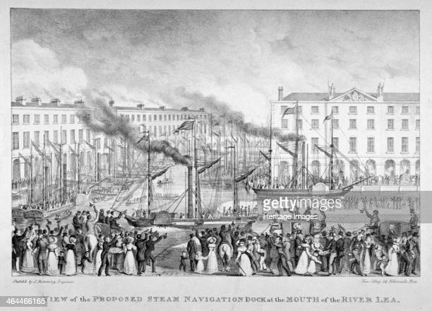 East India Dock Poplar London c1835 View of the proposed steam navigation dock at the mouth of the River Lea showing crowds observing the paddle...