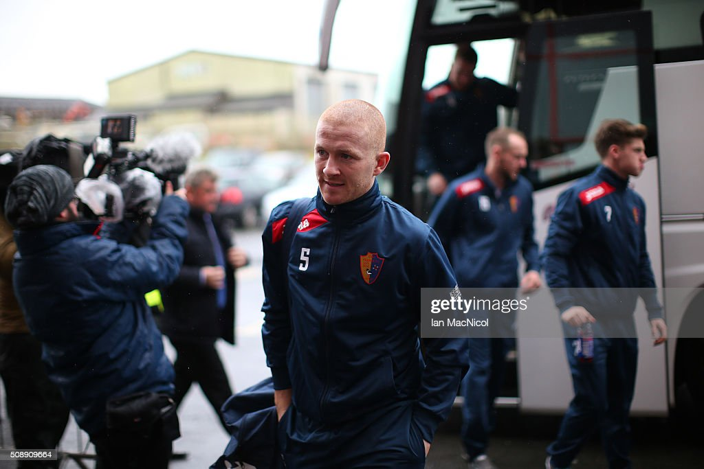 East Kilbride Captain Barry Russell arrives at the stadium prior to the William Hill Scottish Cup Fifth Round match between East Kilbride and Celtic at Excelsior Stadium on February 7, 2016 in Airdrie, Scotland.