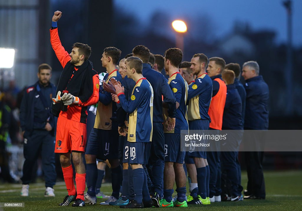 East Kilbride players do a lap of honour at full time during the William Hill Scottish Cup Fifth Round match between East Kilbride and Celtic at Excelsior Stadium on February 7, 2016 in Airdrie, Scotland.