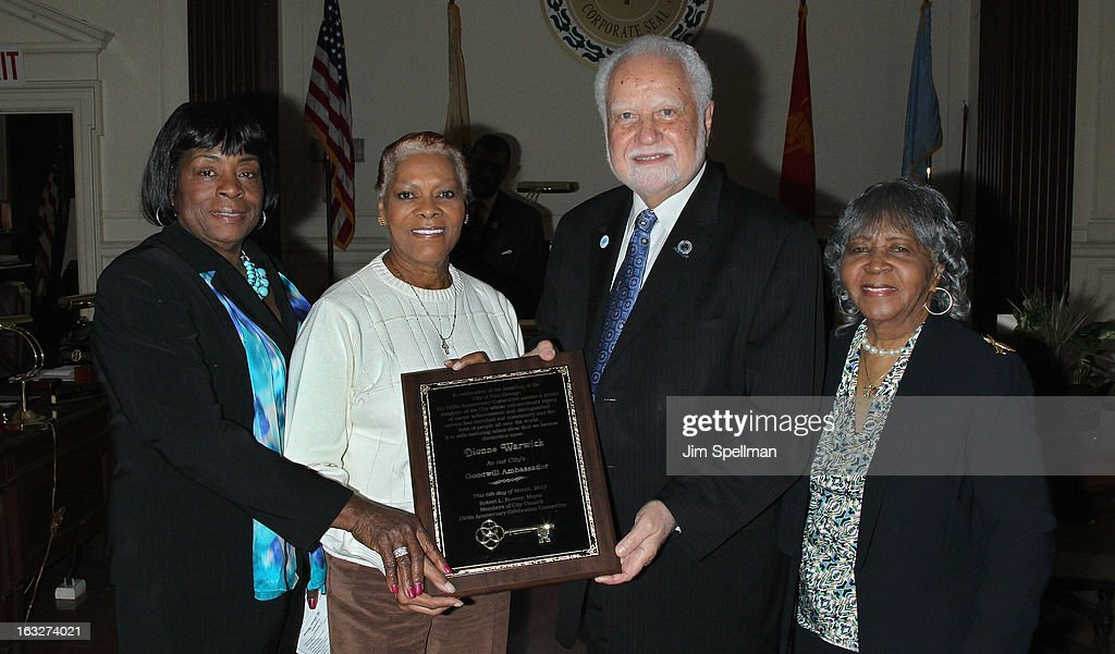 East Orange NJ City Council Chairwoman - 3rd Ward Quilla E. Talmadge, actress Dionne Warwick, Mayor of the City of East Orange NJ Robert L. Bowser and co-chair, 150th anniversary celebration committee Goldie T. Burbage attend the 150th Anniversary of East Orange, New Jersey at Council Chambers on March 6, 2013 in East Orange, New Jersey.