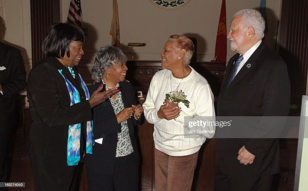 East Orange NJ City Council Chairwoman - 3rd Ward Quilla E. Talmadge, co-chair, 150th anniversary celebration committee Goldie T. Burbage actress <a gi-track='captionPersonalityLinkClicked' href=/galleries/search?phrase=Dionne+Warwick&family=editorial&specificpeople=213111 ng-click='$event.stopPropagation()'>Dionne Warwick</a> and Mayor of the City of East Orange NJ Robert L. Bowser attend the 150th Anniversary of East Orange, New Jersey at Council Chambers on March 6, 2013 in East Orange, New Jersey.