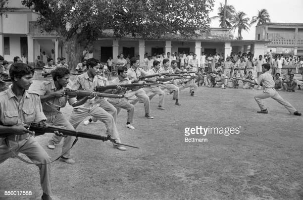 East Pakistan rifle soldiers go through training on the grounds of their barracks The East Pakistanis hope to set up a provisional government
