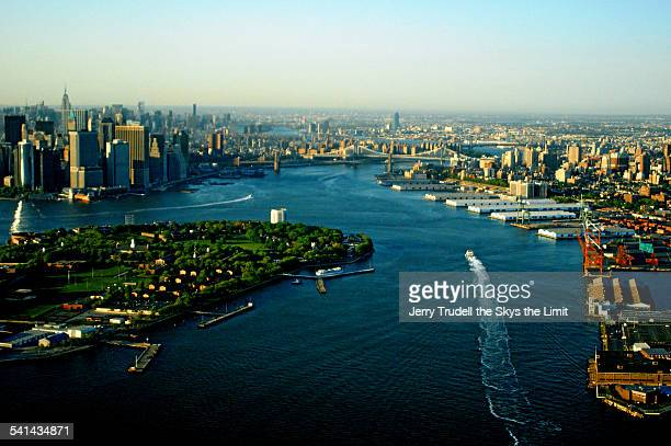 East river and governors Island New york City