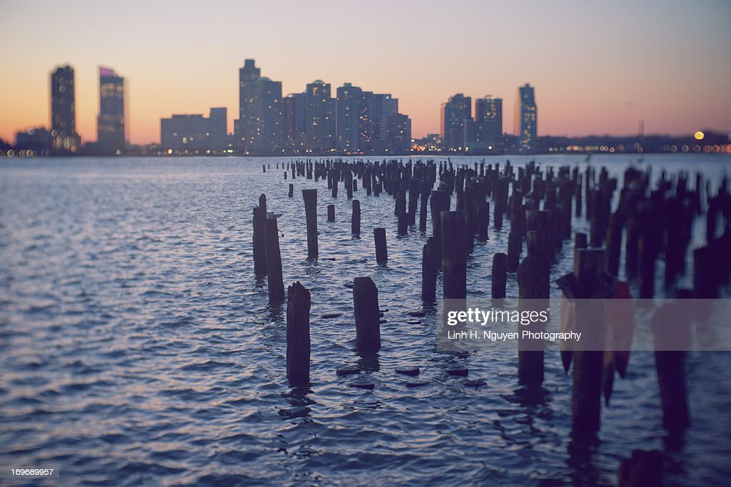 East River Dock at sunset.