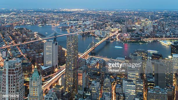 East river night trails - New York