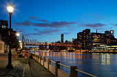 East River Shore at night with Queensboro Bridge, Manhattan, Upper East Side, New York, High Dynamic Range image