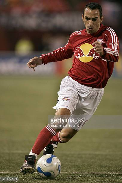 New York Red Bulls forward Youri Djorkaeff from Lyon France dribbles during the last game of the regular MLS season against the Kansas City Wizards...