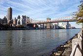 East side of Manhattan shot from Roosevelt Island with Queensboro bridge and East River visible