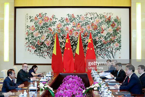 East Timor President Taur Matan Ruak meets with Chinese President Xi Jinping at Diaoyutai State Guesthouse on September 2 2015 in Beijing China Taur...