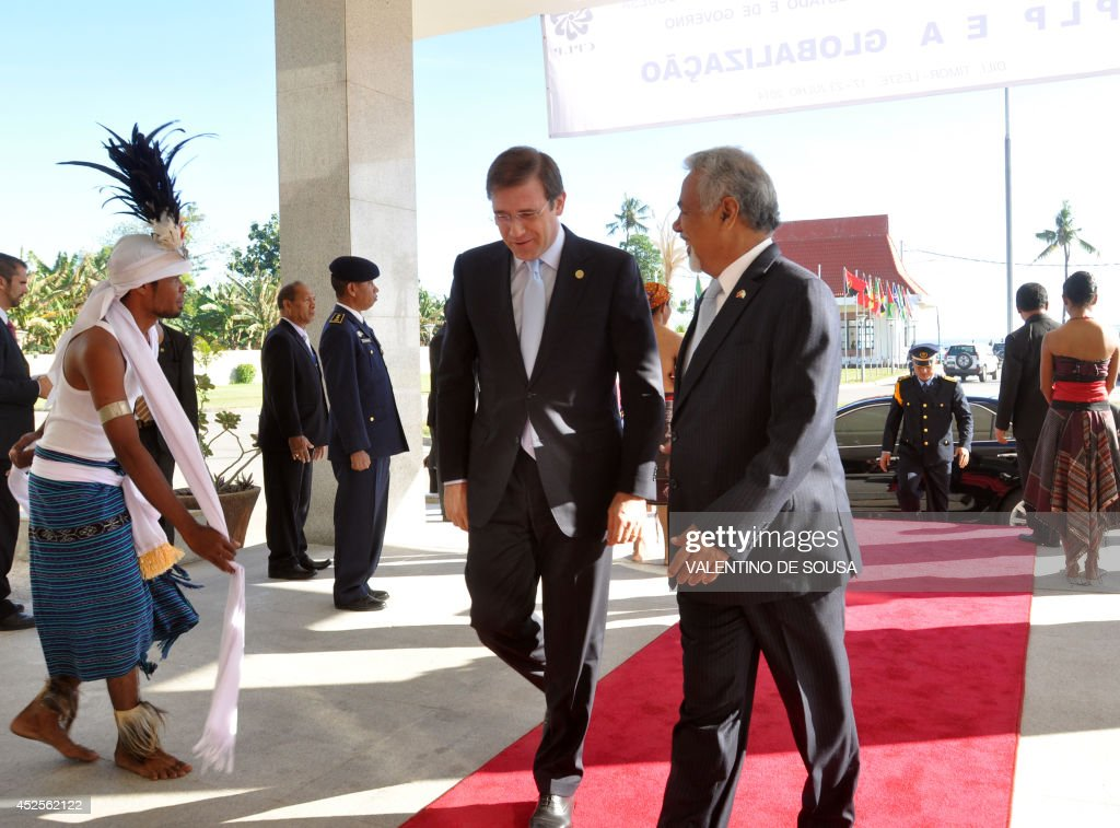 East Timor Prime Minister Xanana Gusmao and Portugal Prime Minister Pedro Passos Coelho arrive to the 10th Summit of Community of Portugueses...