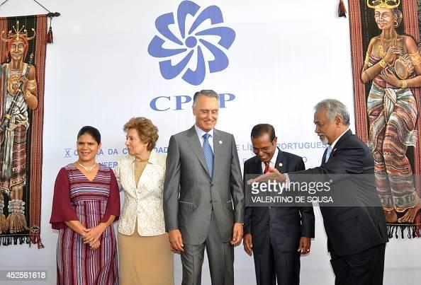 East Timor Prime Minister Xanana Gusmao guides Portugese President Anibal Cavaco Silva and First Lady Maria Cavaco Silva and East Timor President...