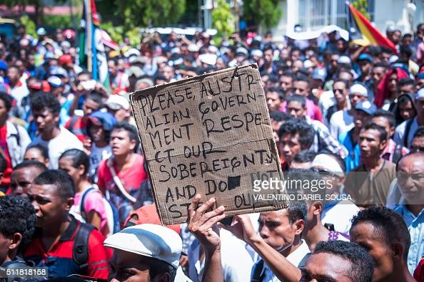 East Timorese activists attend a rally outside the Australian embassy in Dili on February 23 2016 Hundreds of East Timorese activists held a rally on...