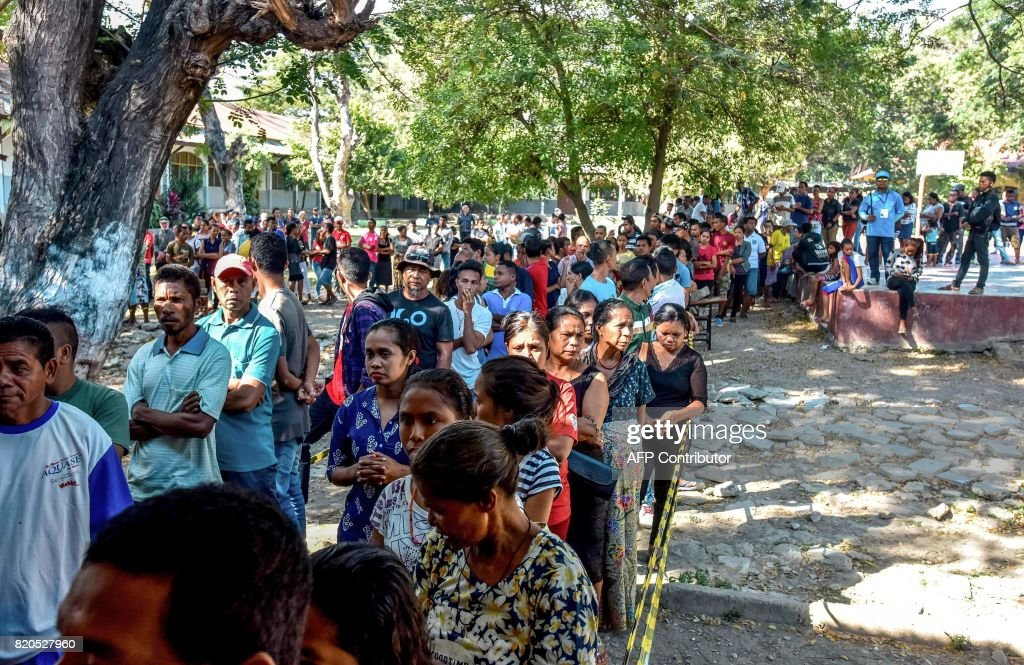 East Timorese line up to vote during parliamentary election in Dili on July 22, 2017. East Timor headed to the polls to elect a new parliament as Asia's youngest democracy battles economic challenges 15 years after gaining its independence from Indonesia.